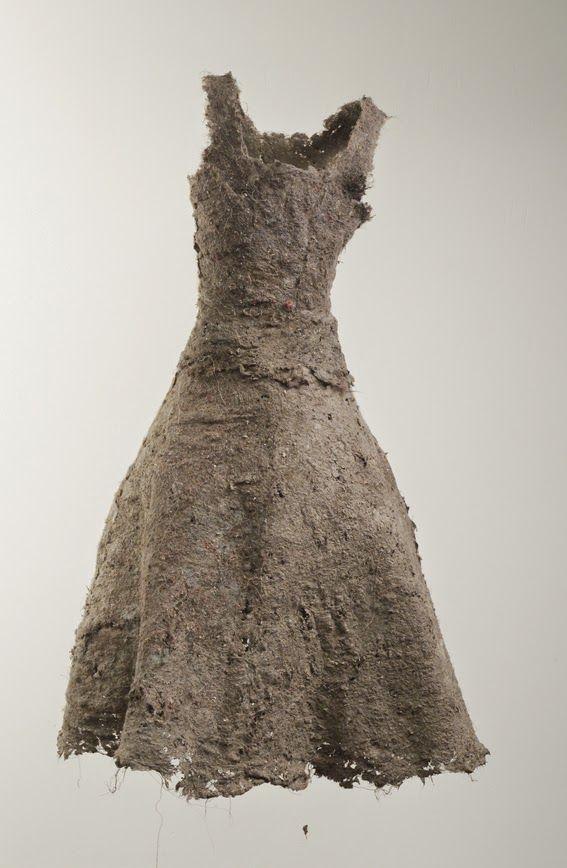 """Elsa Lecomte ~ """"Robe poussière"""" (2004) *Dust Dress* dust w thread 150 cm *apx 5 ft high* via elsalecomte.blogspot.com"""