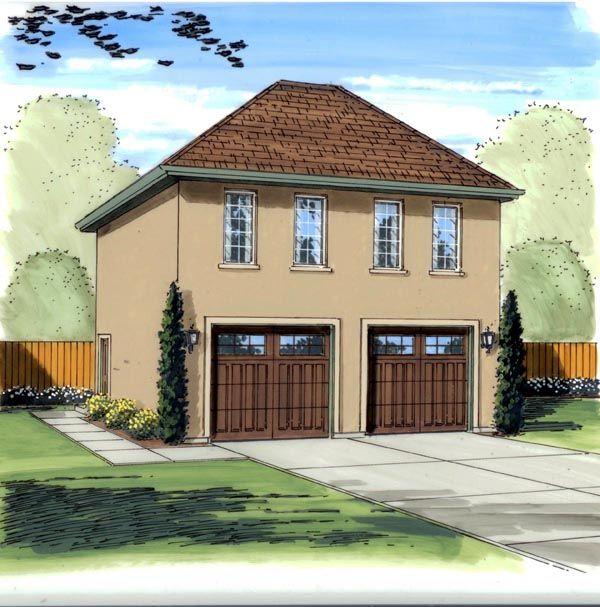 Plan W2225sl One Story Garage Apartment: Mediterranean Traditional Plan With