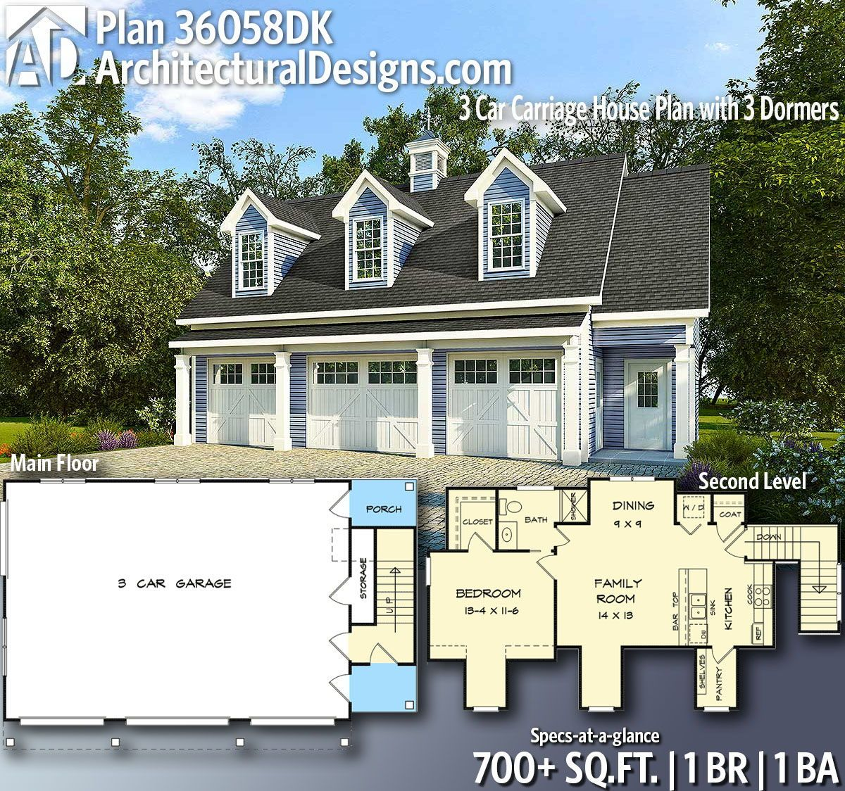 Plan 36058DK: 3 Car Carriage House Plan With 3 Dormers In
