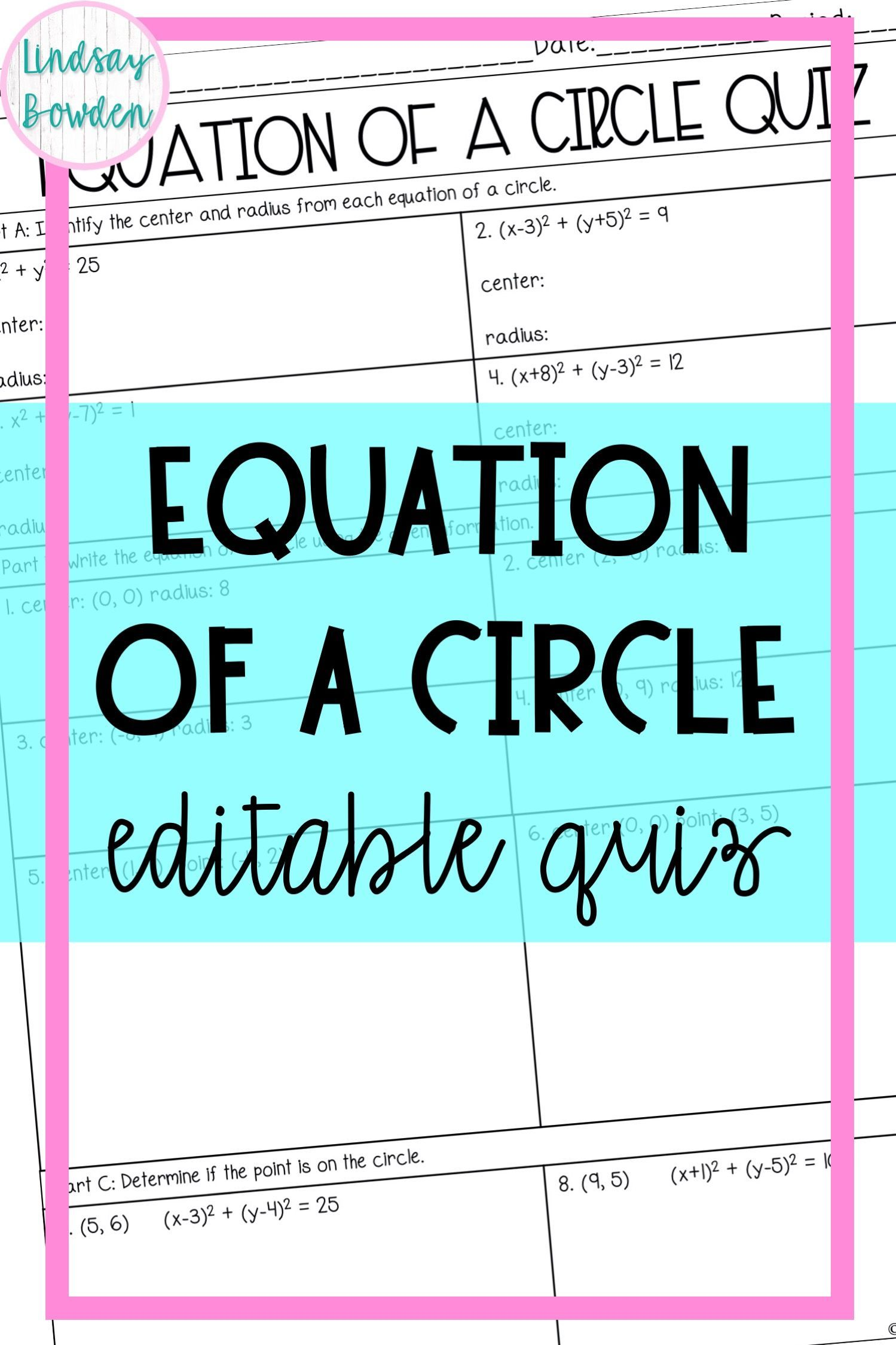 Equation Of A Circle Quiz In