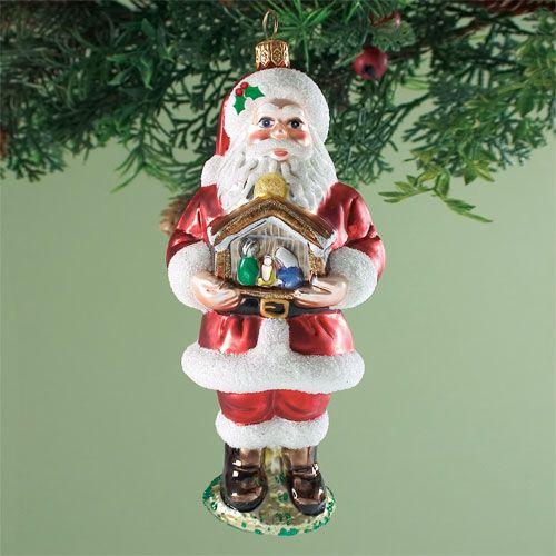Hand Blown Glass Santa Ornament Christmas Decorations Ornaments