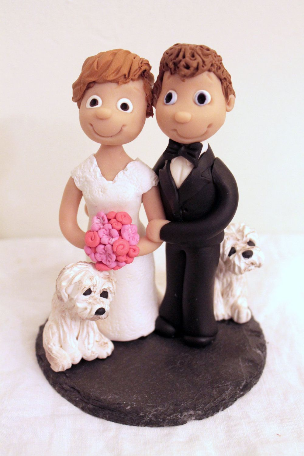 Wedding cake topper custom bride and groom cake topper with dogs