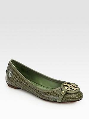 3662f1eee30fe Tory Burch Aaden Snake-Print Leather Ballet Flats