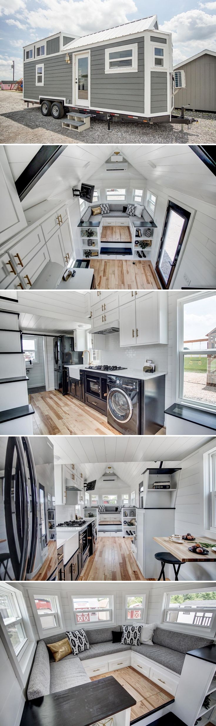 A 24 Modern Tiny House With Black Stainless Steel Appliances White Quartz Countertops And A Raised Couc Modern Tiny House Tiny House Nation Tiny House Plans