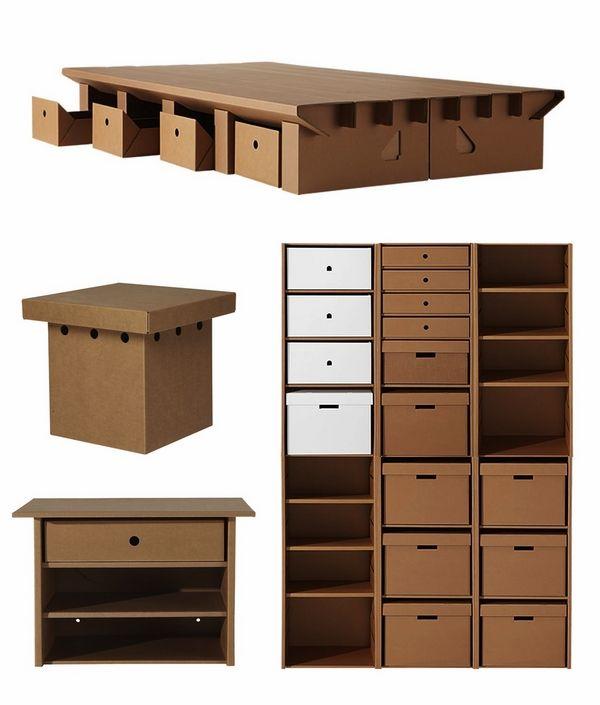 Diy cardboard furniture design original storage ideas carboard shelves storage boxes desk table - Diy cardboard furniture design ...