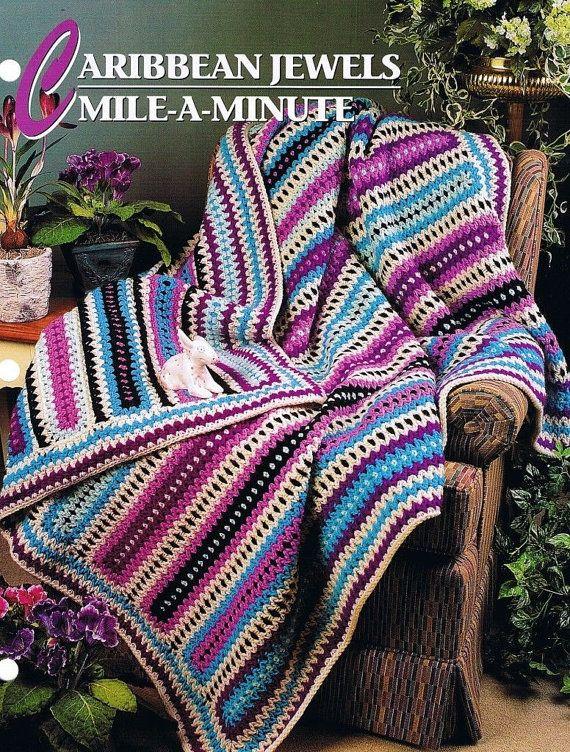 Caribbean Jewels Mile A Minute Annies Attic Crochet Afghan Quilt