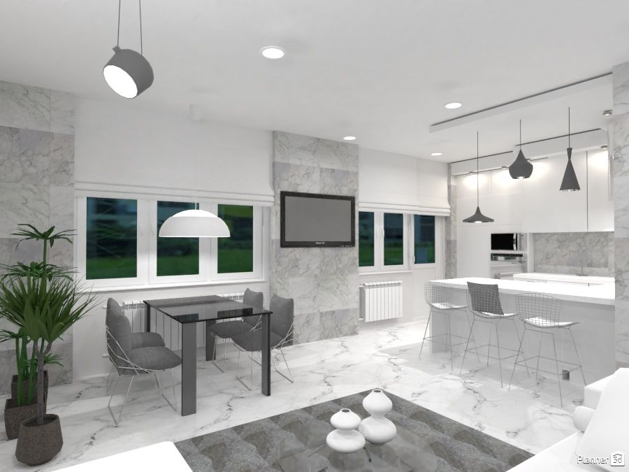 White Kitchen And Dining Room Interior Planner 5d
