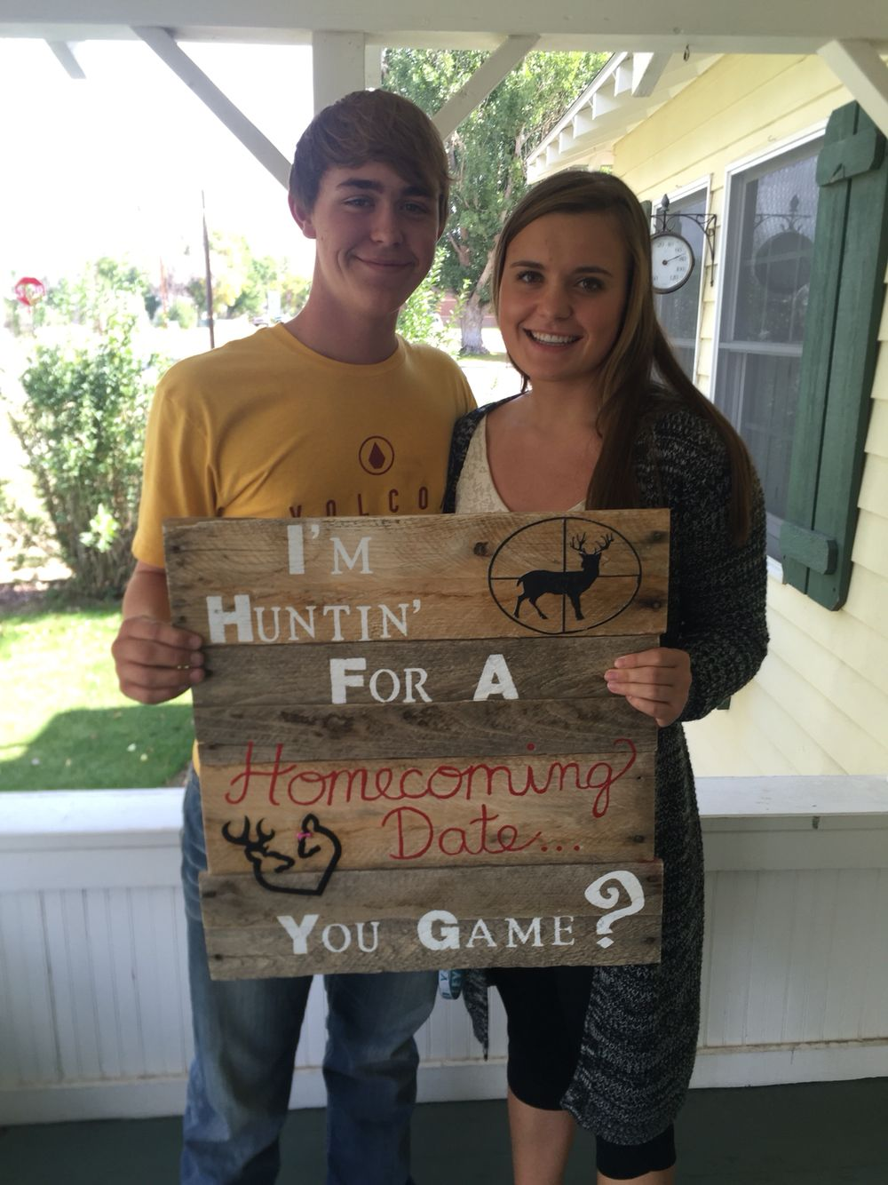 Homecoming sign.  He asked his girlfriend with this hunting sign.