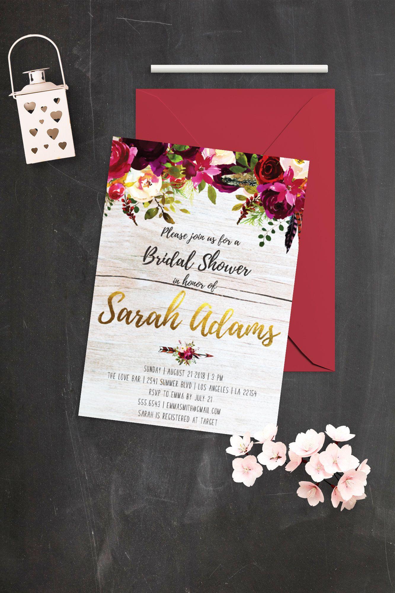 Rustic Bridal Shower Invitation Printable Bridal Shower Bohemian ...