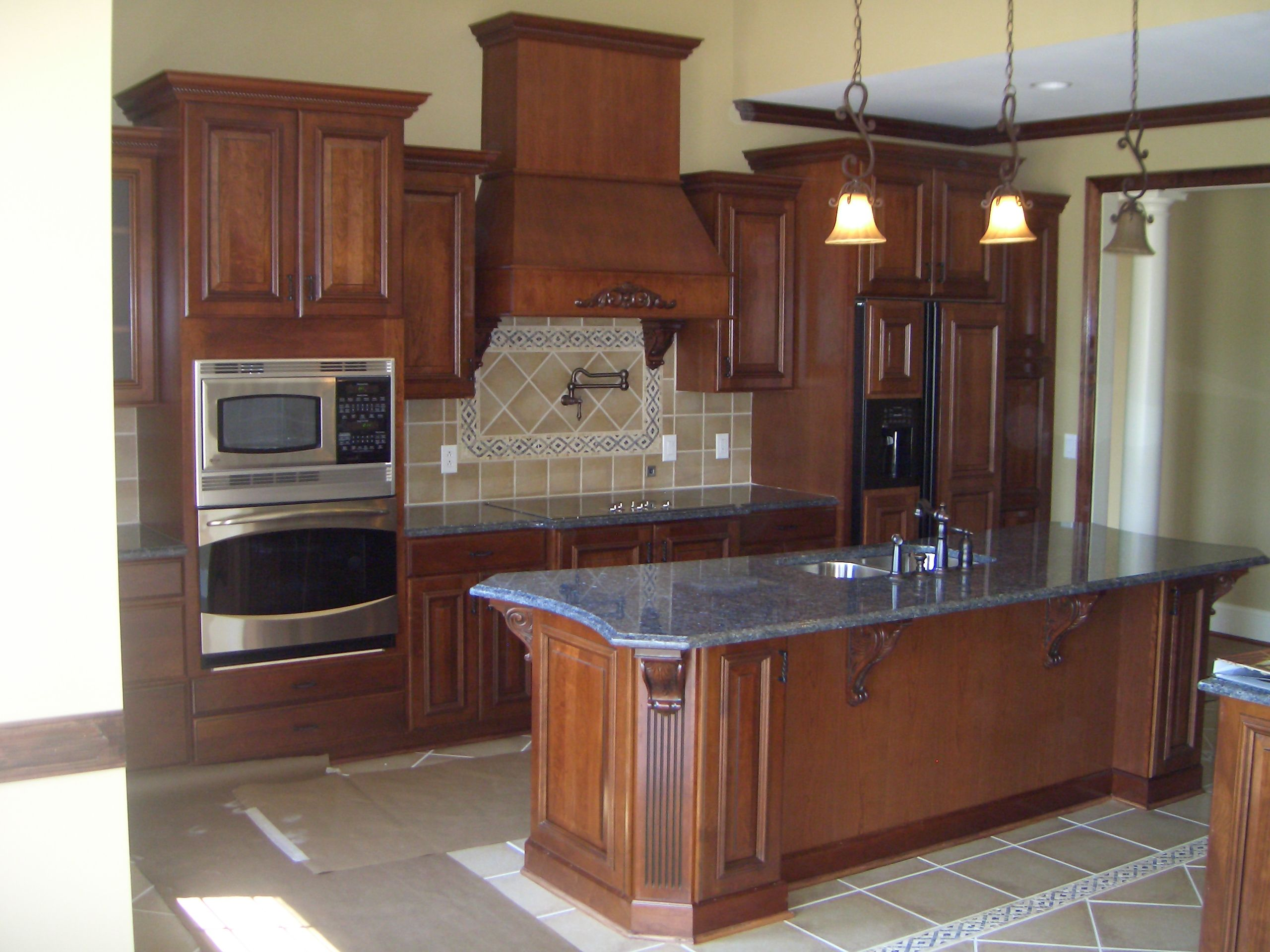 I Love How The Island Shape Turned Out, And The Blue Pearl Granite On The Glazed  Cherry Cabinets Looks Awesome!
