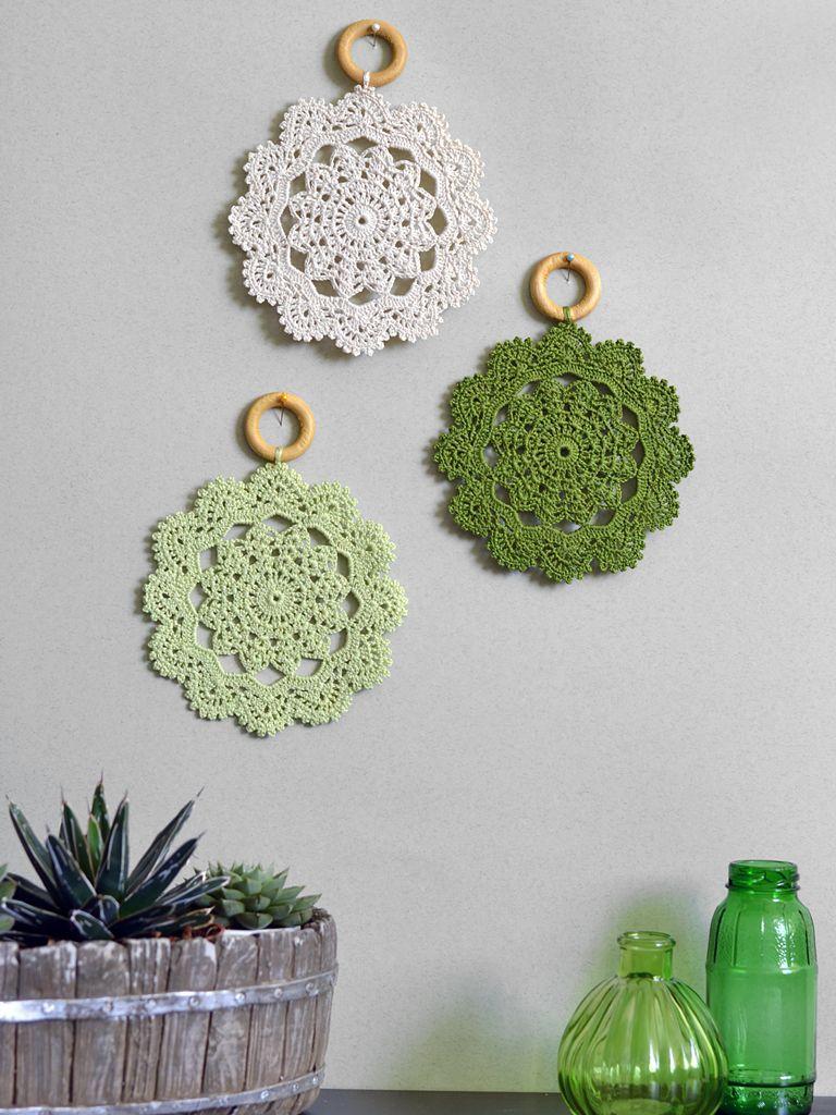 Country house wall decor - Crochet Wall Decor Set Of Three Crochet Doily Wall Hanging Country House Decor Boho Interior Crochet