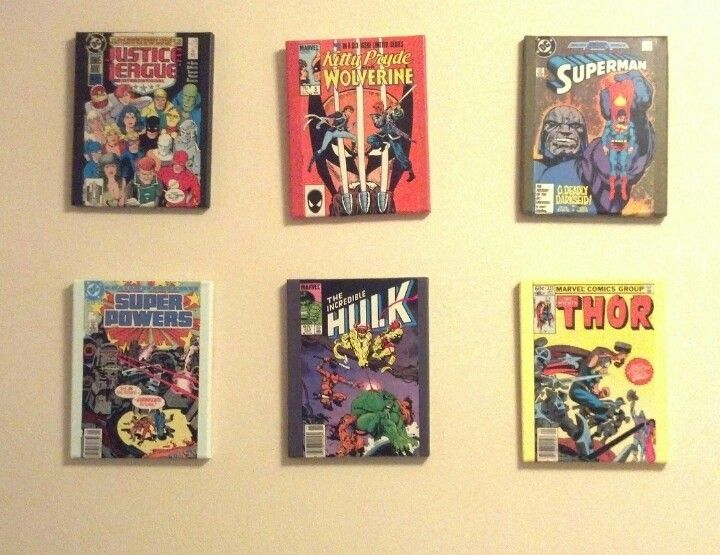 More modge podge/comic book on canvas to create awesome wall art ...