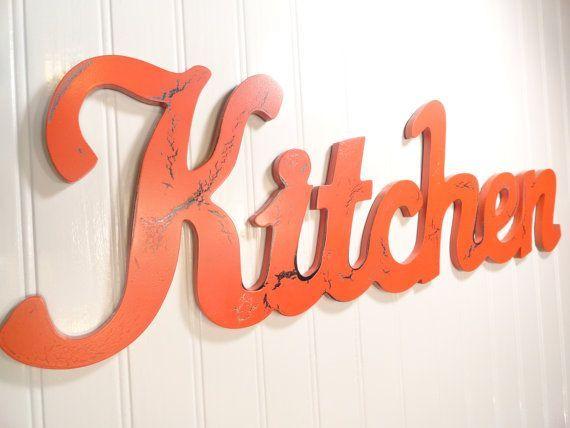 kitchen wall decor, kitchen word wall sign, aqua shabby chic wall