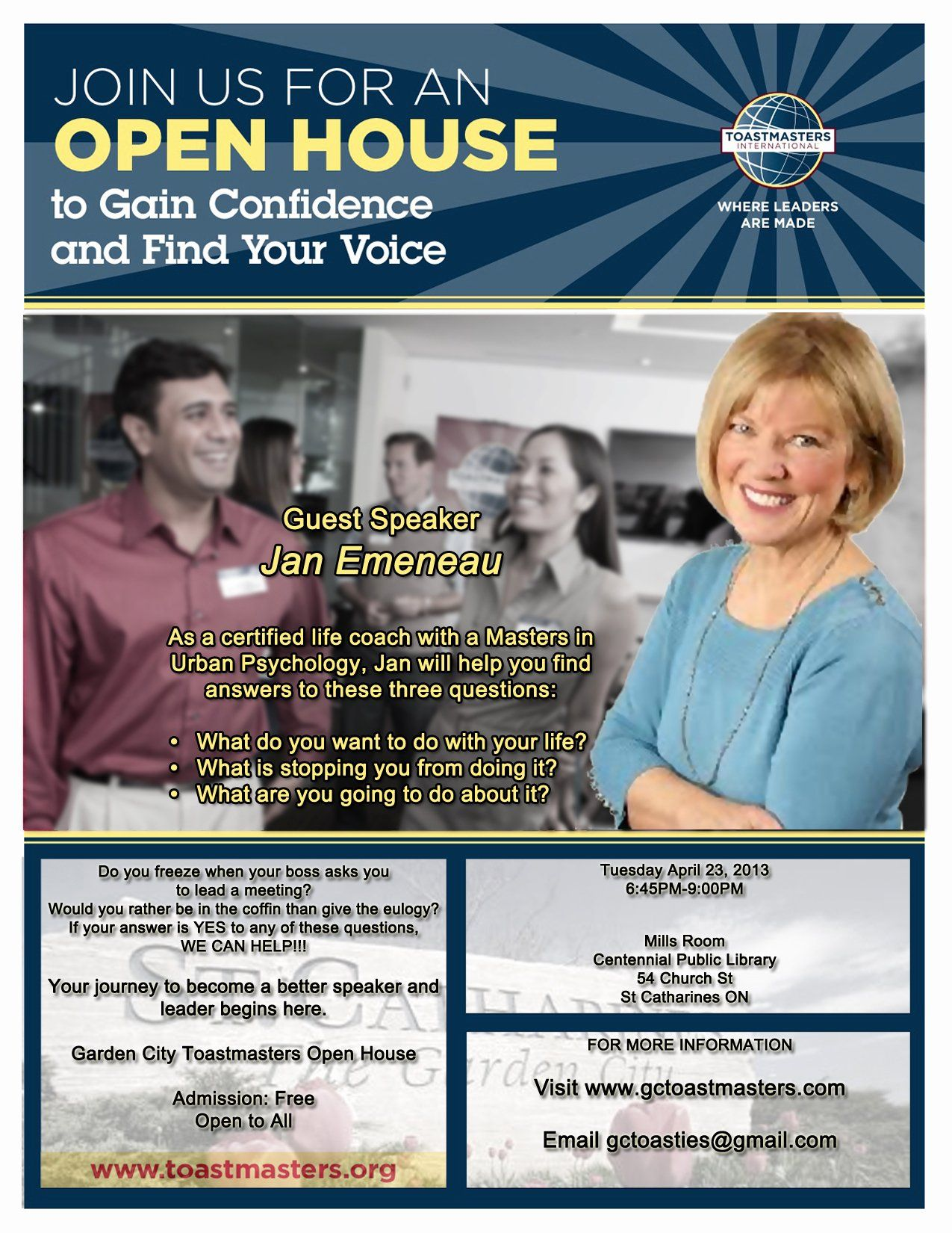 Open House Flyer Template Word Awesome Garden City Toastmasters Open House Tuesday April 23 Flyer Template Letter Template Word How To Gain Confidence