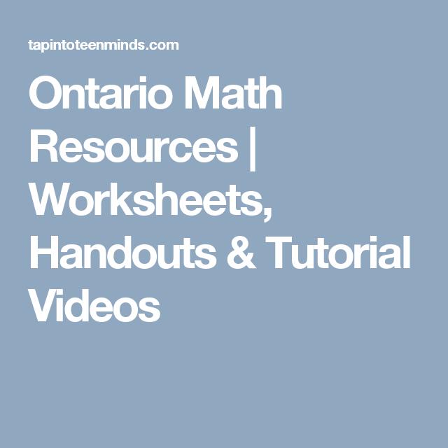 Ontario Math Resources | Worksheets, Handouts & Tutorial Videos ...