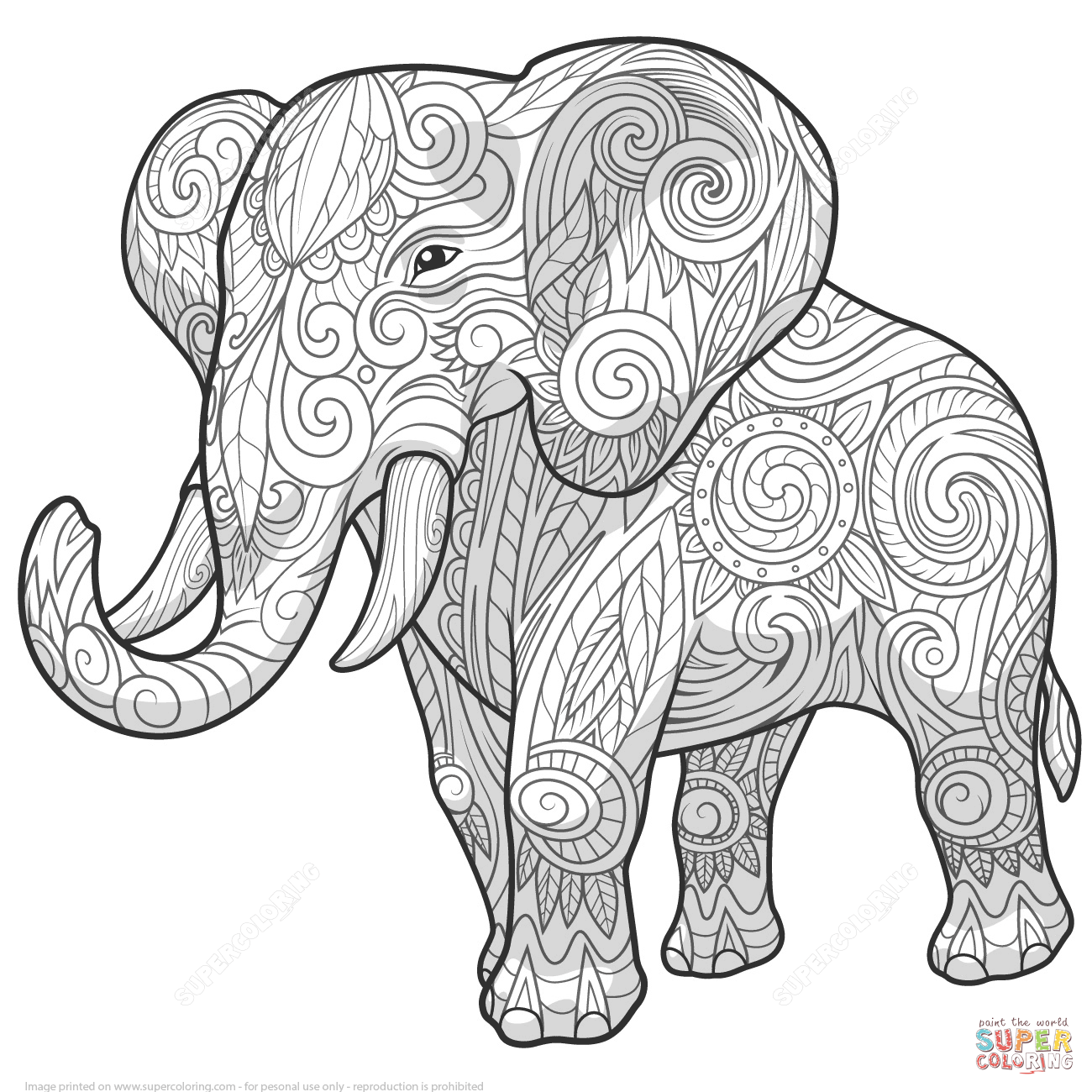 Zentangle Coloring Pages | Elephant Ethnic Zentangle coloring page ...