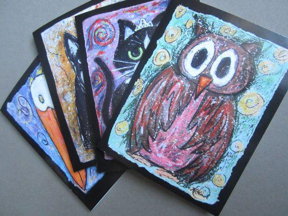 PETS set of 4 Blank notecards by ellenmccordarts on Etsy, $8.00