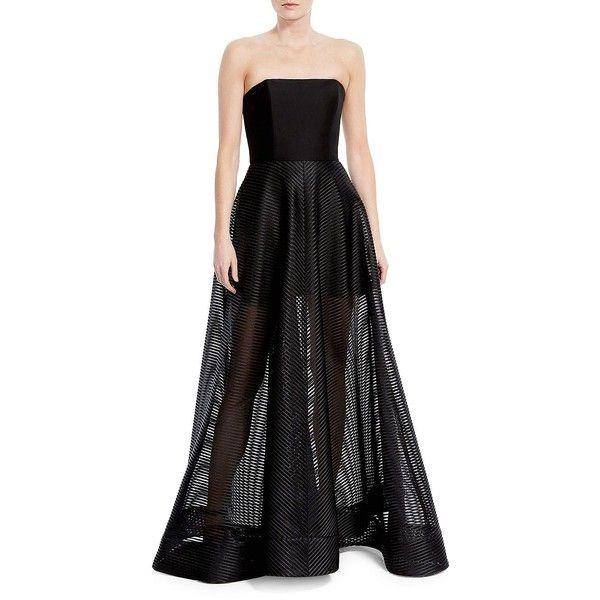 Halston Heritage Women's Strapless Gown ($224) ❤ liked on Polyvore featuring dresses, gowns, black, sheer evening dresses, transparent gown, strapless dress, striped gown and see through dress
