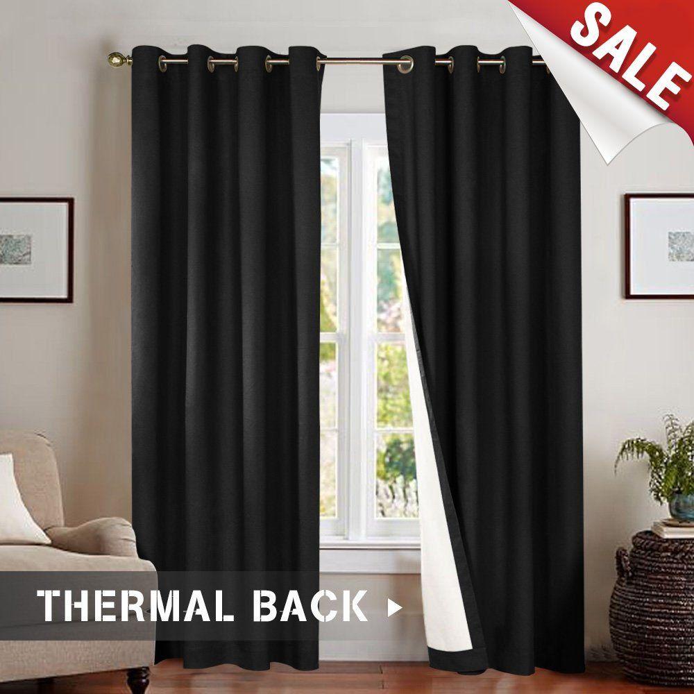 Jinchan Bedroom Thermal Blackout Curtains Black Energy Saving