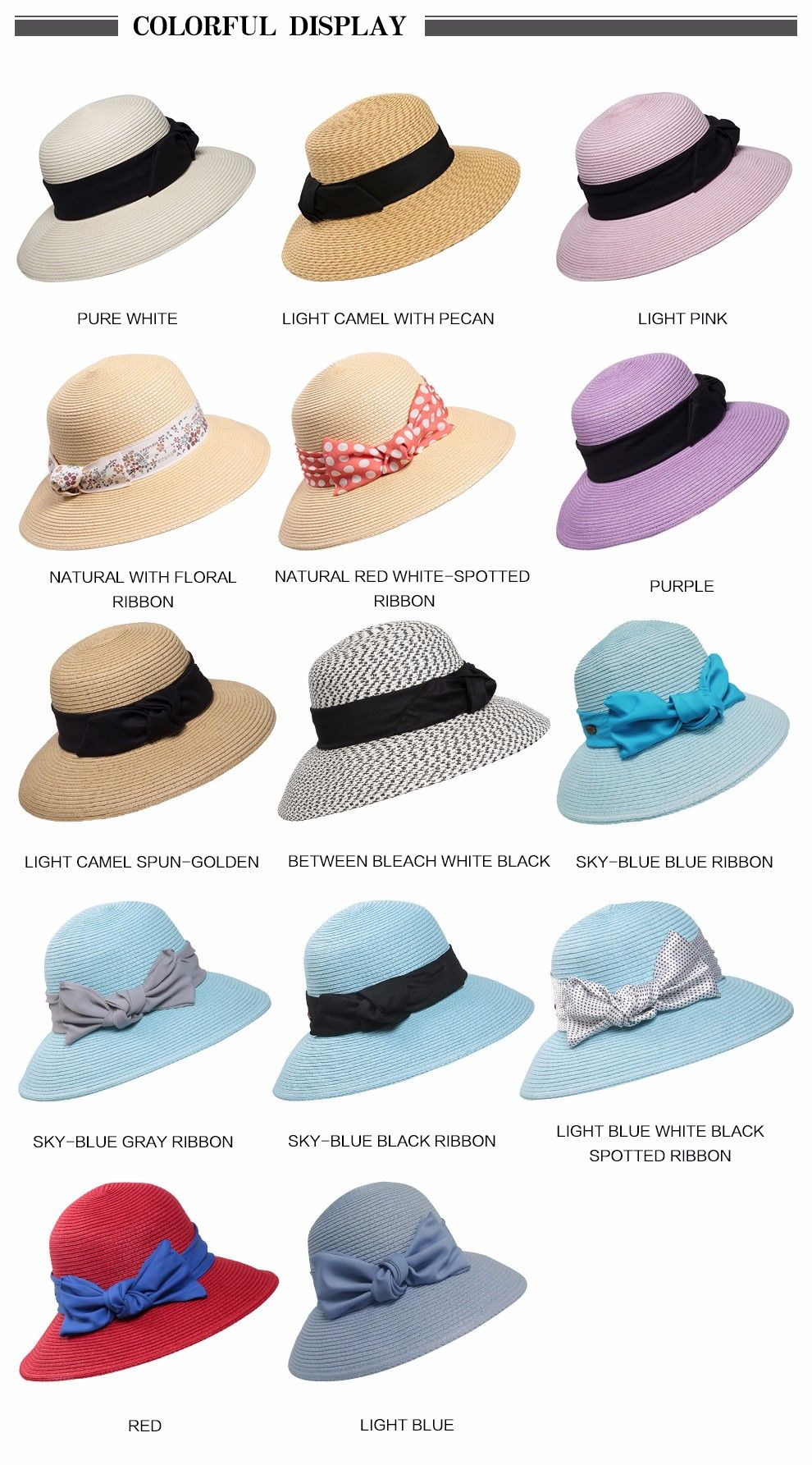21f8d5a0 Fashion Multicolor Women Ladies Summer Beach Panama Wide Brim Sun Hat  Foldable Female Straw Cap and Bow SW120017 – hatstores.net