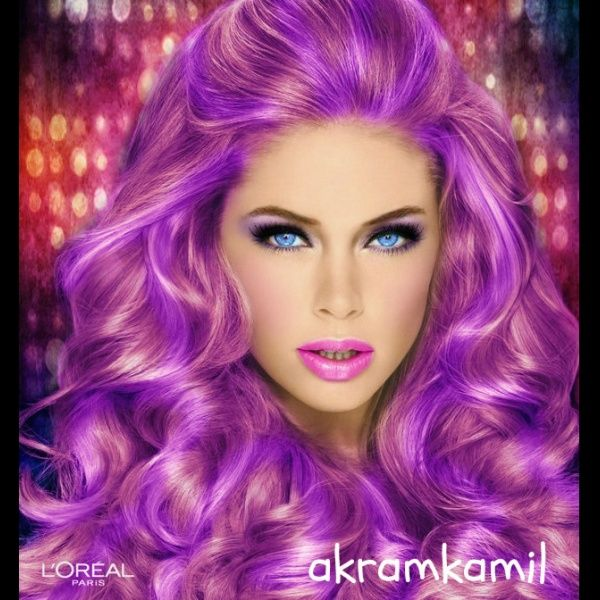 "Try Hairstyles Cool Swetty Purple"" Created Using Taaz Virtual Makeovertry On"