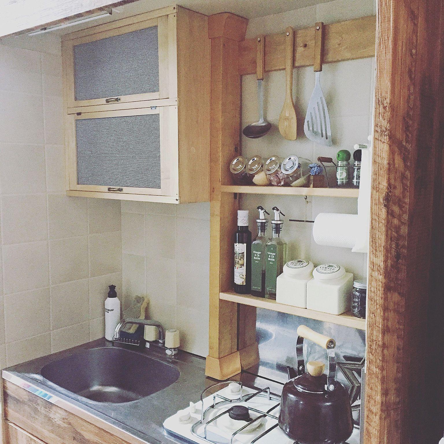 キッチン Diy ワンルーム 1r 1人暮らし などのインテリア実例 2016