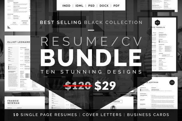 Nice Resume/CV Bundle - Black Collection CreativeWork247 - Fonts