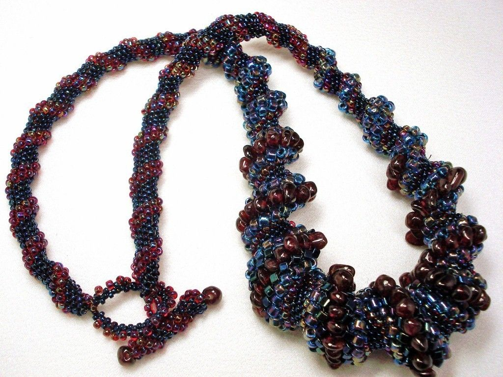 Tangled Up in Blue Cellini Spiral Beadwoven Necklace. $99.00, via Etsy.