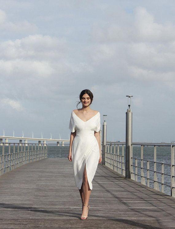 Short wedding dress, elegant, simple wedding dress, rustic weddings, wedding dress with sleeves, unique wedding dress  – Sakura Dress – Sadelik