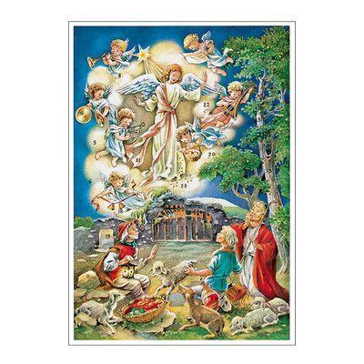 Alexander Taron Korsch Shepherd With Angels Advent Calendar Set Of 2 Christmas Graphics Christmas Advent Calendar Vintage Christmas Cards