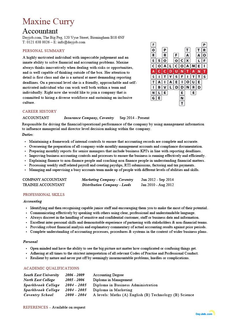Accountant Crossword resume template, CV, doc, financial, junior ...