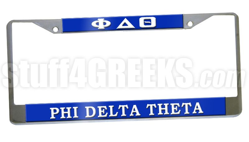 This Phi Delta Theta car tag frames any standard license plate with ...
