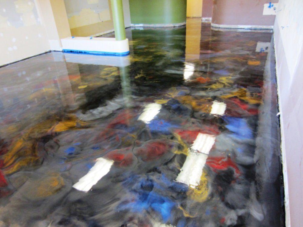Residential Metallic Epoxy Flooring Home Garden Initiative Epoxy Floor Epoxy Floor Basement Metallic Epoxy Floor