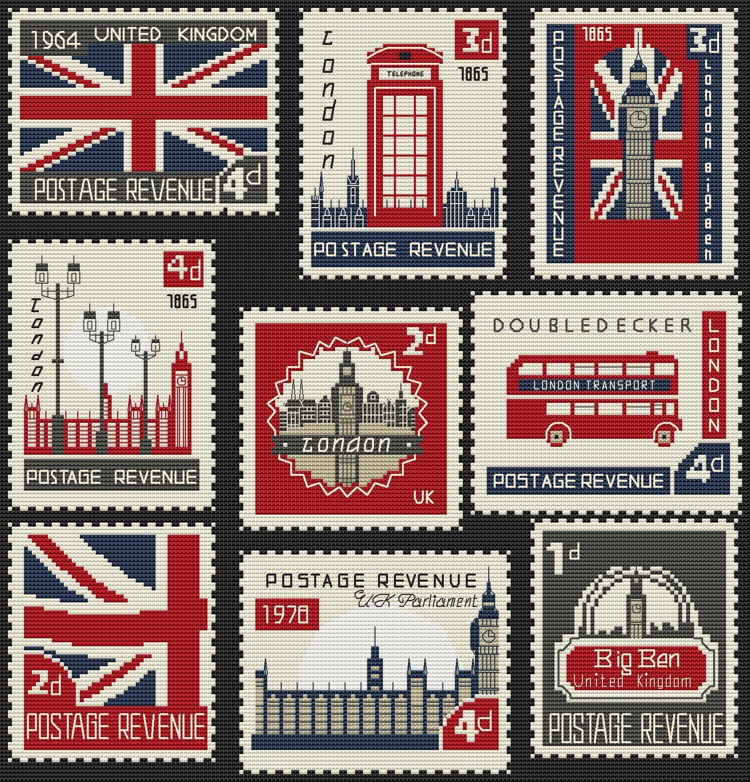 Cross Stitch Pattern British Postage Stamps Digital