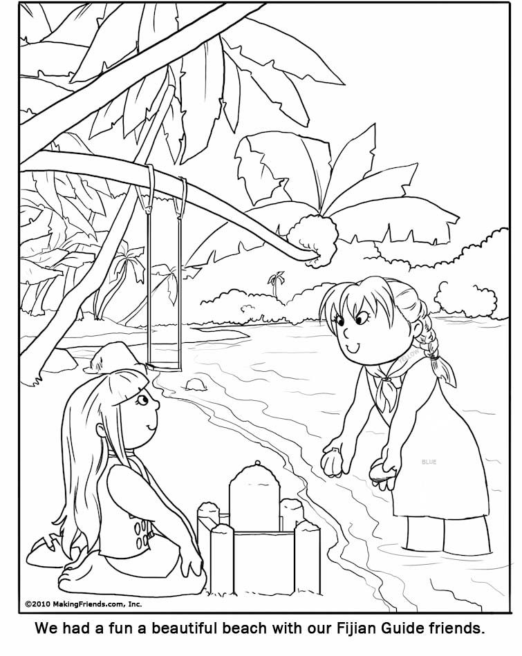 fiji girl guide coloring page for your girl scout world thinking day or international