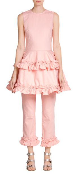 J+Brand+x+Simone+Rocha+pick+a+pretty+shade+of+pink+to+add+drama+to+this+denim+dress,+enhanced+further+with+feminine+frilled+detail+on+the+skirt+#Stylebop