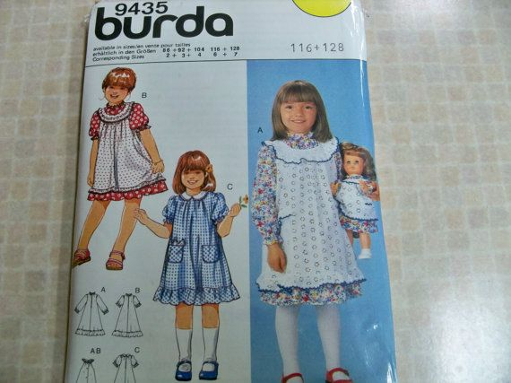 1970/1980) No. 9435 Burda Pattern Sz 6 and 7 Girl\'s by ...