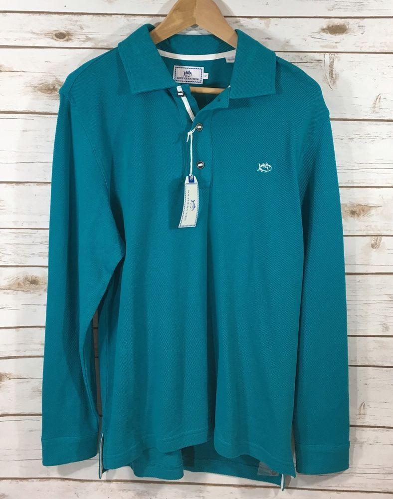 NWT Southern Tide Mens XL Long Sleeve Outdoor Pique Polo Shirt Cool Breeze Blue  | eBay