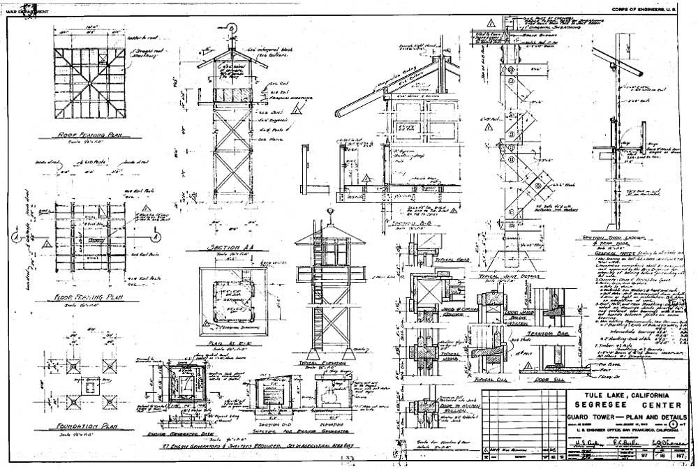 Guard Tower — Plan and Details (1943), Tule Lake