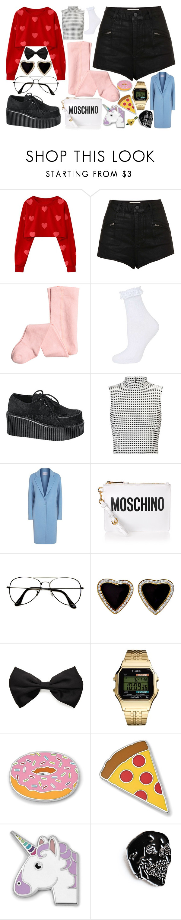 """""""Untitled #409"""" by queenfangirl on Polyvore featuring Topshop, Demonia, Miss Selfridge, Sandro, Moschino, ZeroUV, Forever 21, Timex, FOSSIL and Van Cleef & Arpels"""