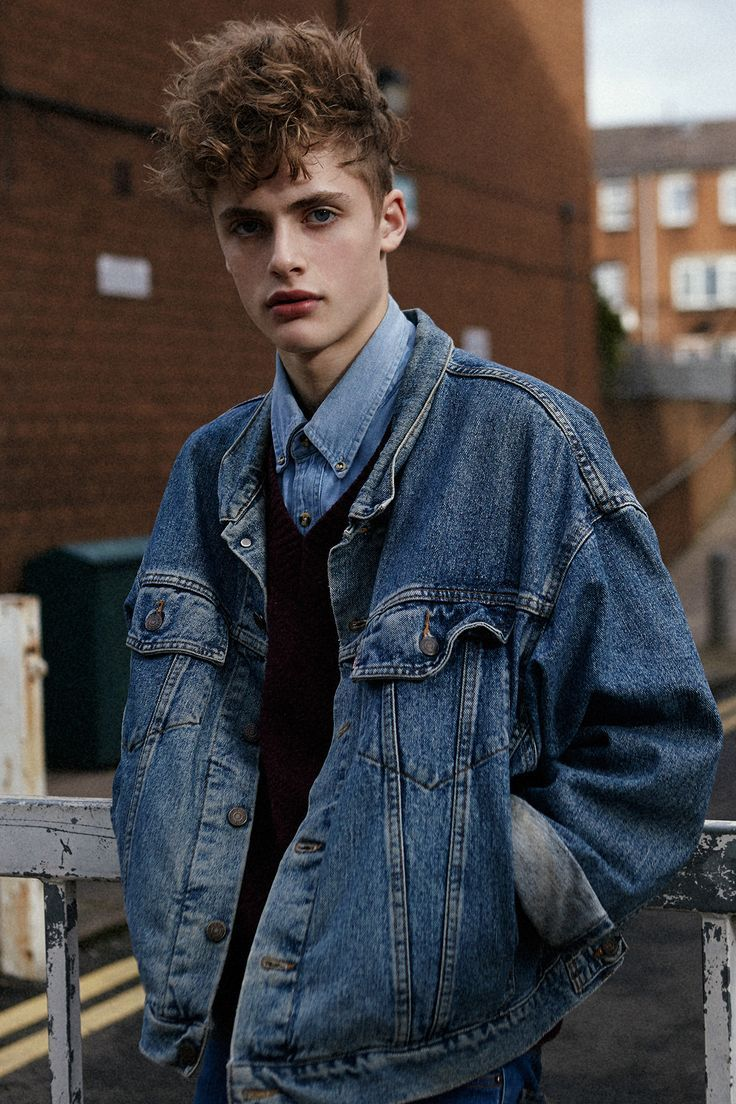 Oversized It Chaqueta En Denim Vintage Uomens