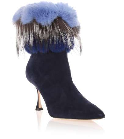 free shipping Cheapest Manolo Blahnik Fox Fur-Trimmed Suede Boots excellent cheap price 8MGFOUf