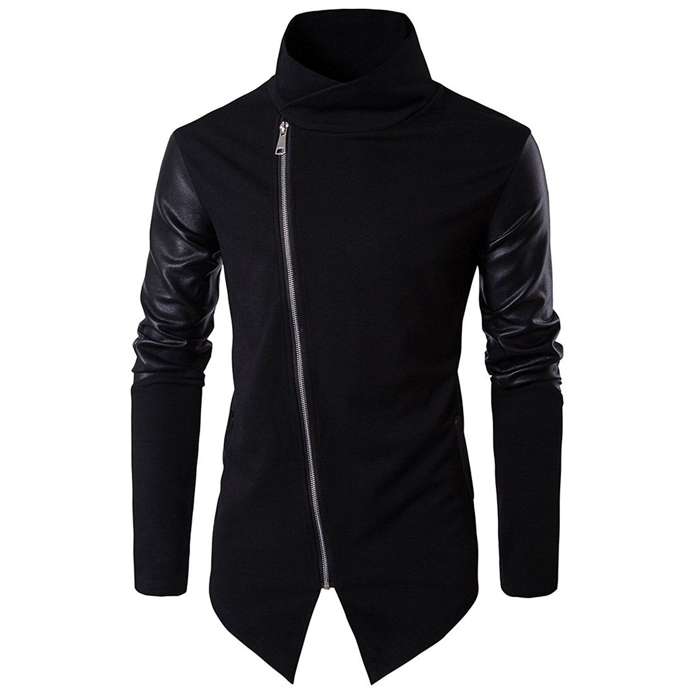 Mens Stylish Faux Leather Zipper Slim Gentleman Coat Outwear Jacket Casual 2018