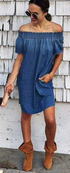 #summer #fashion #outfitideas Off The Shoulder Denim Dress + Camel Suede Booties