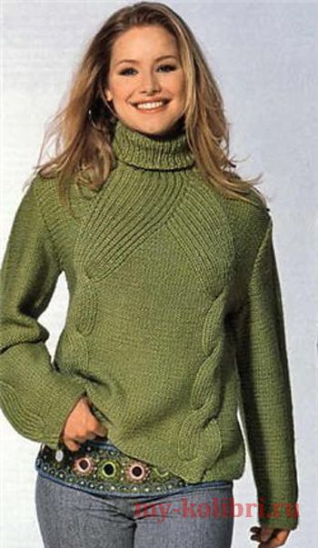 как связать модный свитер спицами с красивыми косами схема и