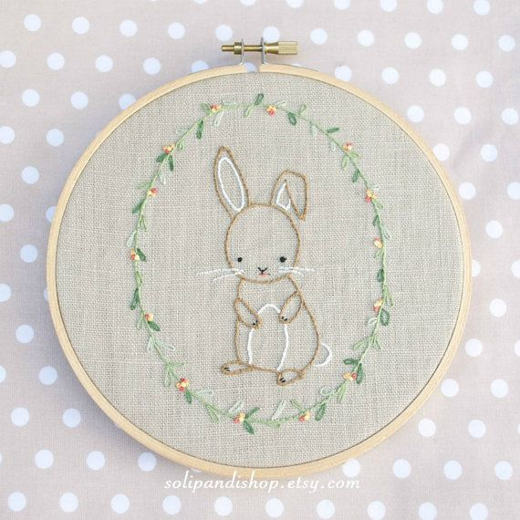 Little Bunny, Hand Embroidery PDF Pattern - Instand Digital Download ...