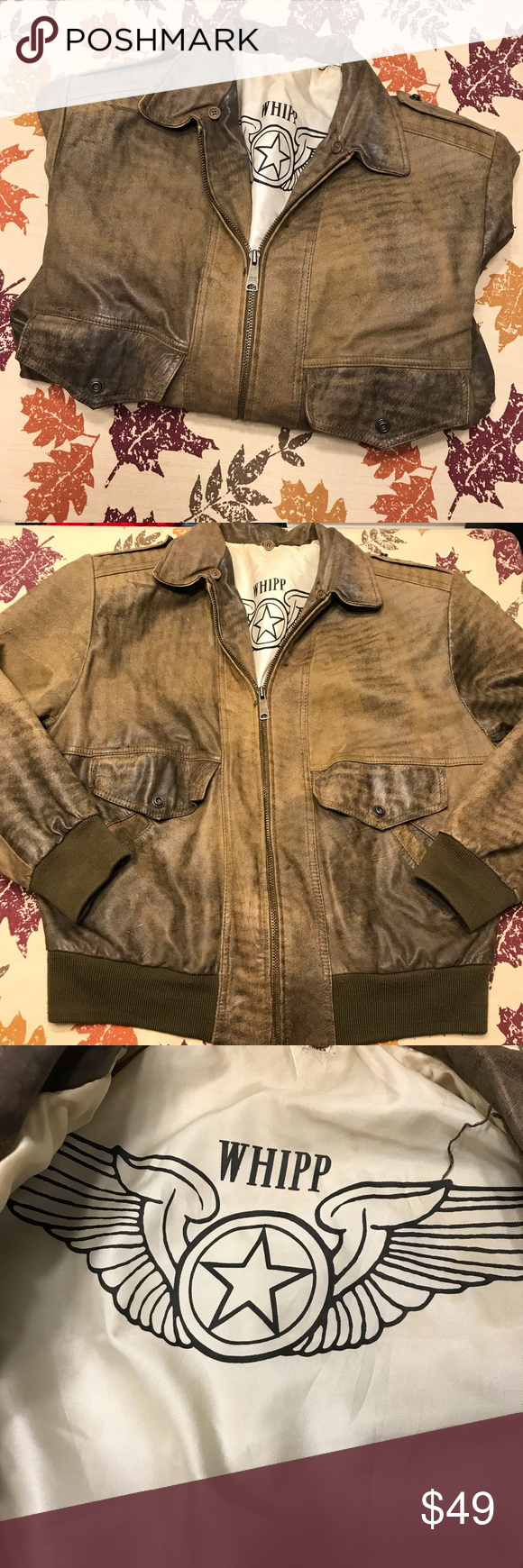 Whipp Soft Leather Bomber Jacket Large Super Soft Leather. Brownish/Olive in color. Padded shoulders. 23in Armpit to Armpit. Smoke/Pet Free. No rips/stains. Whipp Jackets & Coats Bomber & Varsity