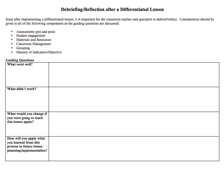 Debriefing/Reflection after a Differentiated Lesson | handouts and ...