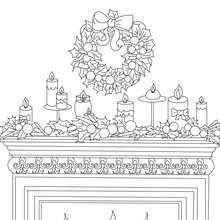 Christmas Candles And Chimney Coloring Page