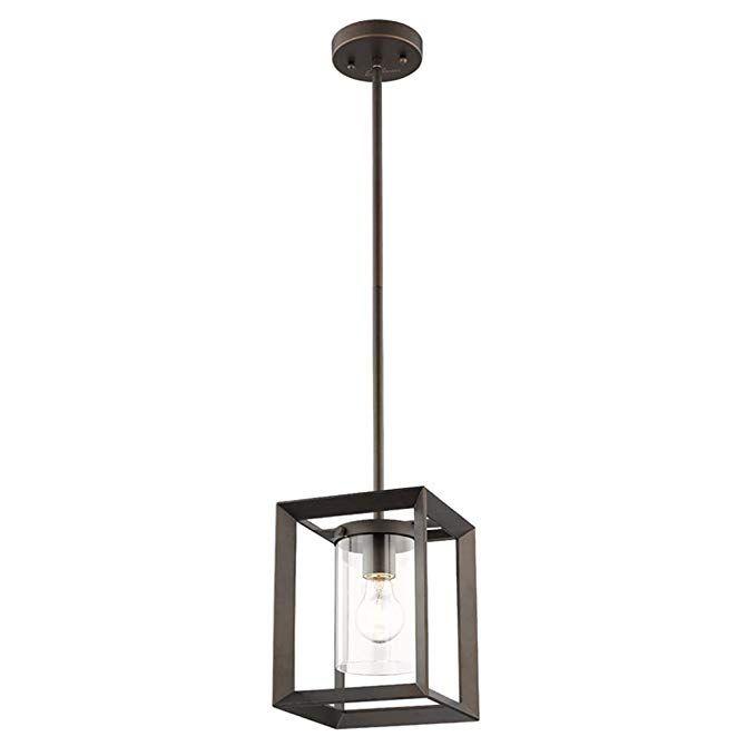 Emliviar Modern Glass Pendant Light, Single Light Metal